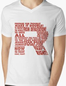 Team Rocket R Typography Mens V-Neck T-Shirt