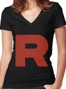 Team Rocket R Women's Fitted V-Neck T-Shirt