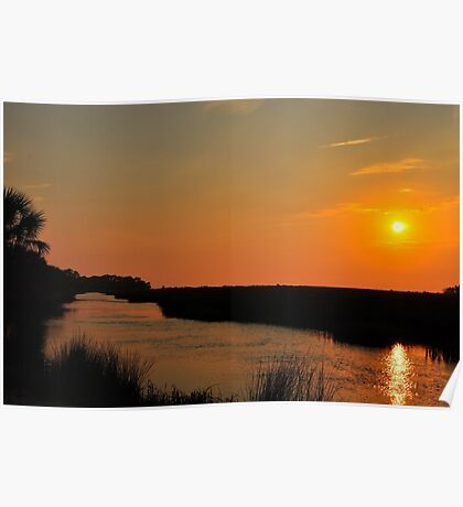 Sunset Over the Canal Poster
