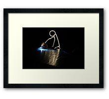 Stick Man - Welder Framed Print