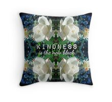 Kindness is the New Black Blue White Roses Design Throw Pillow