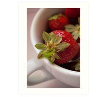 Macro and vibrant colored strawberry Art Print