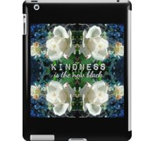 Kindness is the New Black Blue White Roses Design iPad Case/Skin