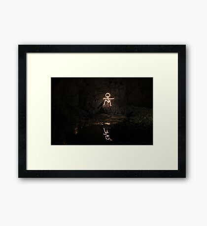 Stick Man Sitting / Pool Framed Print