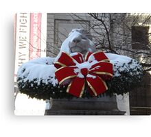 New York Public Library Lion After A Snowfall, New York City Canvas Print