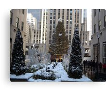 Rockefeller Center Christmas Tree, Decorations, After A Snowfall, New York City Canvas Print