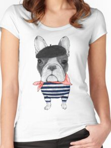 Frenchie With Arc de Triomphe Women's Fitted Scoop T-Shirt