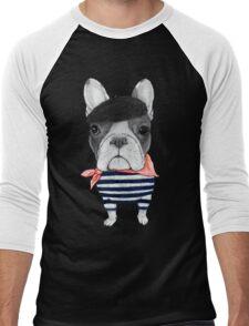 Frenchie With Arc de Triomphe Men's Baseball ¾ T-Shirt