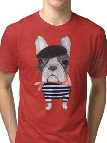 Frenchie With Arc de Triomphe Tri-blend T-Shirt