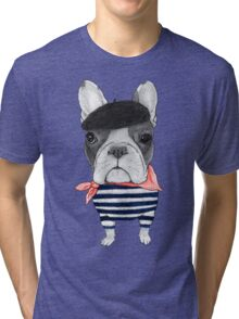 Frenchie With Arc de Triomphe Tri-blend T-Shirt