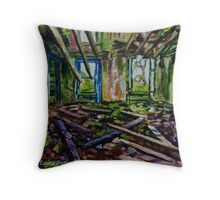 """Echoes of the Past, Ruined Country House in the Townland of Ballypriorbeg, County Antrim"" Throw Pillow"