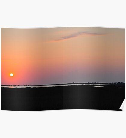 Sunset Over Salt Flats Poster