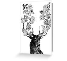 The Stag & Roses | Black & White Greeting Card