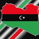 Republic of Libya Flag on Map with Colored Stripes by HighDesign