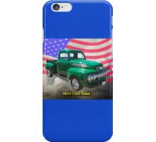Green 1951 Ford F-1 Pickup With American Flag iPhone Case/Skin