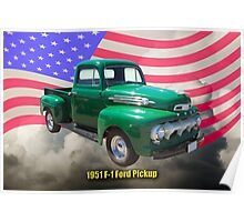 Green 1951 Ford F-1 Pickup With American Flag Poster