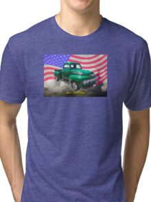 Green 1951 Ford F-1 Pickup With American Flag Tri-blend T-Shirt