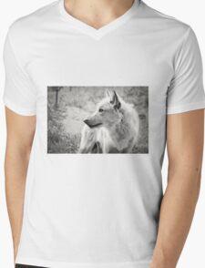 Black and White Wolf Mens V-Neck T-Shirt