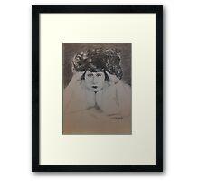 Clara, White Fur Framed Print