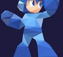 """""""De-Rezzed Mega Man"""" - Low Polygon Art by PKHalford"""