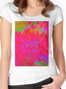 Psychedelic Floral Design Women's Fitted Scoop T-Shirt
