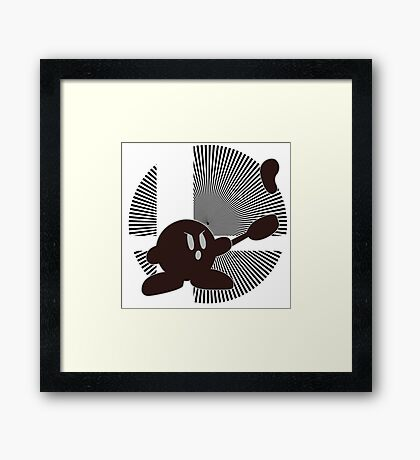 Mr. Game & Watch (Kirby Hat) - Sunset Shores Framed Print