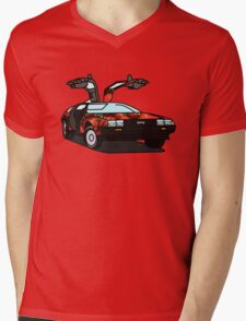 Organic Delorean Mens V-Neck T-Shirt