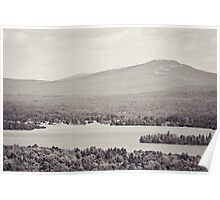 Black and White Mountain Waterscape Poster
