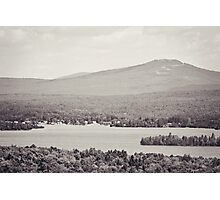 Black and White Mountain Waterscape Photographic Print