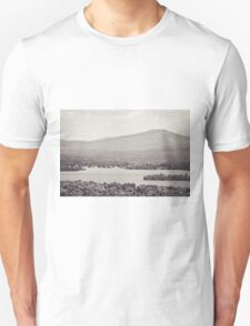 Black and White Mountain Waterscape Unisex T-Shirt