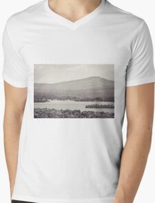 Black and White Mountain Waterscape Mens V-Neck T-Shirt