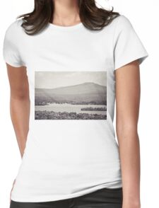 Black and White Mountain Waterscape Womens Fitted T-Shirt