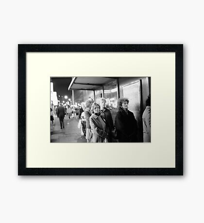1985 - waiting for the night bus Framed Print
