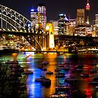 Lavender Bay under Sydney Harbour Bridge by night by pixntxt