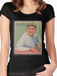 Benjamin K Edwards Collection George Herman Babe Ruth Big League Chewing Gum Baseball Card Women's Fitted Scoop T-Shirt