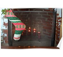 Candlelight in the Fireplace for Christmas Poster
