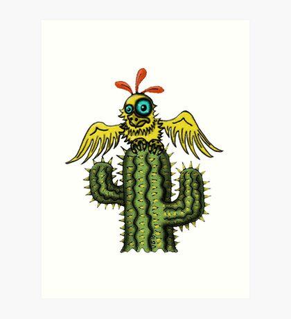 Wrong Landing funny bird on cactus cartoon art Art Print