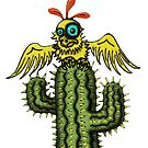 Wrong Landing funny bird on cactus cartoon art by Vitaliy Gonikman