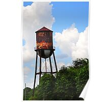 Water tower with Trees Poster