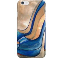 Christian Louboutin Electric Blue Red Bottom Peep Toe Pumps iPhone Case/Skin