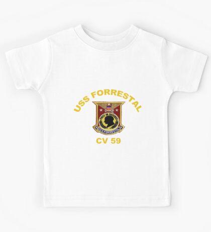 USS Forrestal (CV-59 AVT-59, CVA-59) Crest for Dark Colors Kids Tee