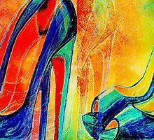 Abstract Red Bottom Blue Peep Toe Heels Colorworld by Arts4U
