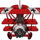 Red Baron airplane funny cartoon by Vitaliy Gonikman