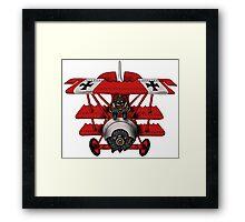 Red Baron airplane funny cartoon Framed Print