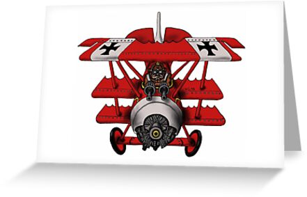 Red Baron airplane funny cartoon by Vitaliy Gonikman