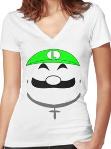 Super Gangster Mario - Luigi Women's Fitted V-Neck T-Shirt