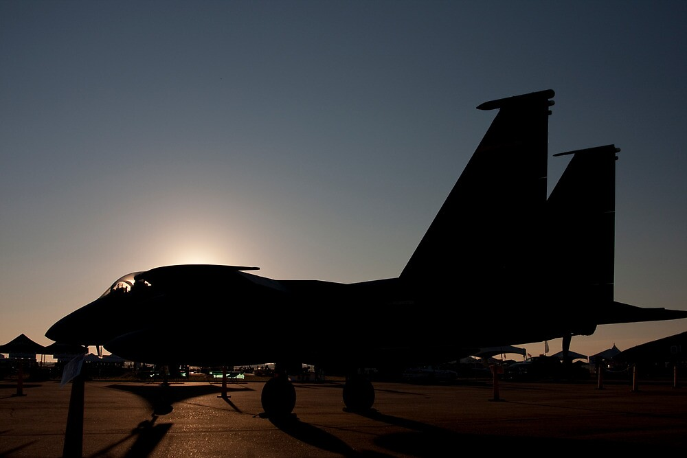 F-15 at dawn on the ramp by bleriger
