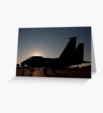 F-15 at dawn on the ramp Greeting Card