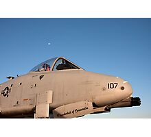 A-10 Warthog with the moon in the background Photographic Print