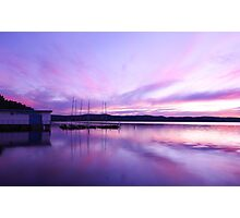 Sun set at long jetty boat shed Photographic Print